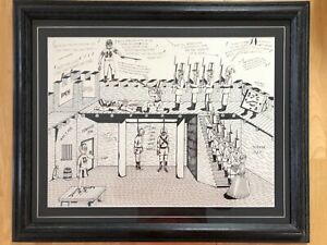 """Original Pen and Ink Drawing """"Untitled"""" Custom Framed and Matted..Free Shipping"""