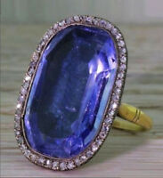 1.10ct ROSE CUT DIAMOND SAPPHIRE ANTIQUE VICTORIAN LOOK 925 SILVER COCKTAIL RING