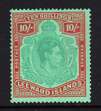 LEEWARD ISLANDS 1938-51 10/- PALE GREEN & DULL RED WITH CERT.SG113a MNH.
