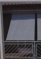 Leco Sonnenrollo 150x300cm Alu Kunststoffgewebe Grau weiß Rollo Markise 26100103