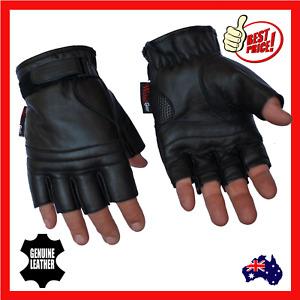 Fingerless Leather Motorcycle Motorbike Gloves Gym Sport Cycling Biker Cruiser