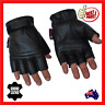 Fingerless Leather Motorcycle Motorbike Gloves Gym Sport Cycling Biker Cruiser