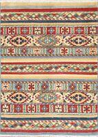 3'x4' Herati Kazak Tuscan Area Rug Hand-Knotted Geometric Oriental Wool Carpet