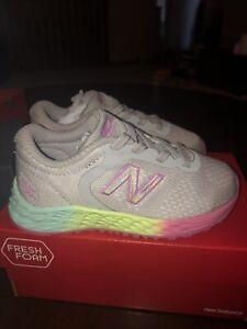 NEW BALANCE Fresh Foam Arishi GRAY PINK Neon Toddler Girls Athletic Shoes Size 7