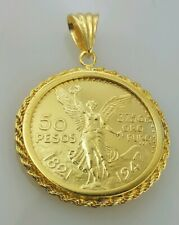 centenario 24k Gold Plated rope frame 50 peso Mexican coin pendant / necklace