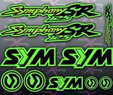 Sym Symphony SR 125 GREEN RED BLACK Stickers / Decals autocollant aufkleber