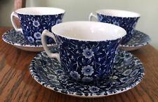 3 Sets Staffordshire Burleigh Blue Calico Tea Cups & Saucers England