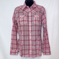 Wrangler Women's Size Small Pink Western Cowgirl Pearl Snap Plaid Shirt Roll Tab