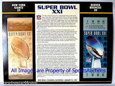NEW YORK GIANTS vs BRONCOS Willabee Ward 22KT GOLD SUPER BOWL 21 TICKET ~ SB XXI
