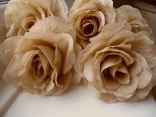 6 x CHAMPAGNE FAUX SILK ROSE FLOWERS (NOT FOAM)BRIDAL/CRAFT/BUTTONHOLES/BOUQUET