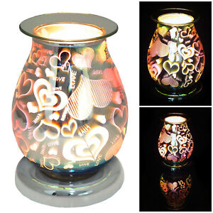 Electric Aroma Touch Lamp Wax Melter & Scented Oil Burner 3D Love Hearts Design