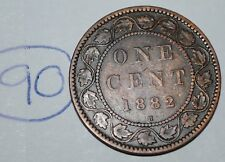 Canada 1882 H 1 Large cent Canadian one Victoria Penny coin Lot #90