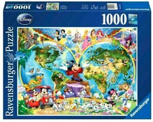 RAVENSBURGER PUZZLE 1000 PCS. DISNEY'S WORLD MAP ITEM NR.15785. NEW