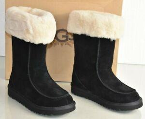Neuf UGG Uggs Filles Enfants Daim Noir Centre-Ville Chaussures Bottes 1 UK 13 Ue