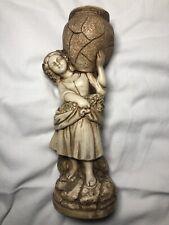 Large Vintage Marwal Chalkware Goddess Statue Holding Flower Planter Vase Urn