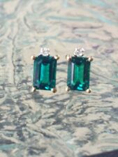 Emerald Octagon Cut And Diamond Stud Earrings 10kt Solid Yellow Gold