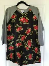 LuLaRoe Randy Top Size XL Unicorn Black Red Roses