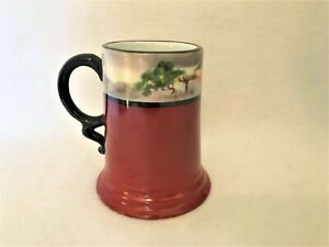 Elegant Rosenthal Antique Stein Mug Hand Painted Landscape Sun Set Arts & Crafts