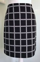 HOBBS Black Grey Check Wool Rich Straight Skirt UK 10 Lined Versatile Winter