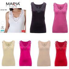 Ladies plain cotton wide strap vest top lace neck design cami tank camisole 1010