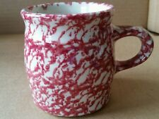 Henn Pottery cranberry spongeware coffee mug (#10)
