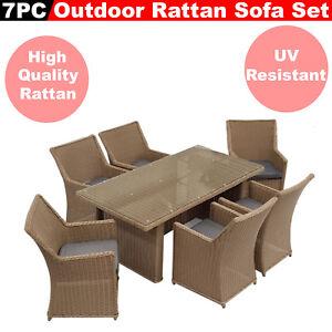 7Pc Hand Weaved Rattan Sofa Set Outdoor Furniture Dining Lounge Garden Patio Set