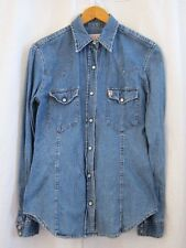 Vtg 80s 90s GUESS Jeans Snap Button Front Blue Denim Shirts Women's Top Sz Small