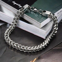 Stainless Steel Square Curb Wheat Chain Link Bracelet Chain Bangle Men's Gift