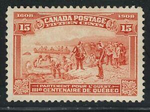 King George V Quebec Tercentenary Issue 15 cent Orange VF Mint  CV $300.00 US
