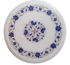 Marble round Table Top lapis lazuli stone semi precious stones inlay work Decor