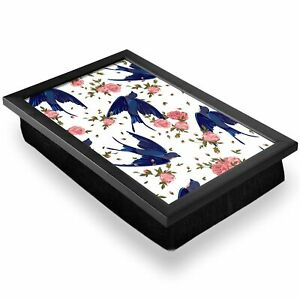 Deluxe Lap Tray - Blue Swallow Birds Pink Flowers Home Gift #15764