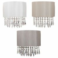 Set of 2 Ivory Pale Gold Silver Fabric Wall Light with Clear Jewelled Strings