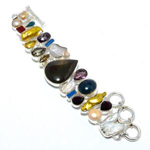 """Multi Gemstone Handmade 925 Sterling Silver Bracelet Jewelry 7.99"""" T8621"""