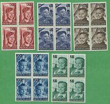 10 Blocks of Netherlands Stamps B229-B233 Cat. Value $240 Child Welfare Surtax