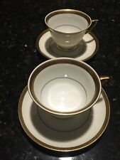 Cup and Saucers Thomas Bavaria White,Black Greek Key/ Gold, Black Verge