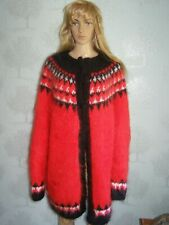New hand knitted thick fluffy red mohair Icelandic cardigan sweater jacket XL