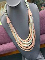 Vintage Multi 11 Strand Multi Pastel Color Wood  Beaded Bohemian Long Necklace