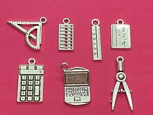 Tibetan Silver Mixed Maths/School Themed Charms -7 per pack - compass,calculator