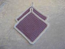 Klassische gehäkelte Topflappen, violett / weiss, neu