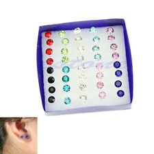 Hot 1 Box 20 Pairs 5MM Clear Crystal Ear Studs Earrings Allergy Free