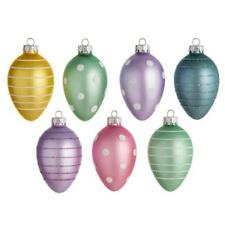 """New 4"""" Multicolored Easter Egg Ornaments Set of 7 30018676"""