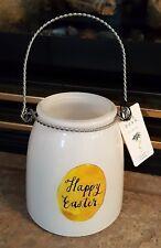 "NWT Rae Dunn ~ 5"" White Glass Lantern Jar  ~ Happy Easter"