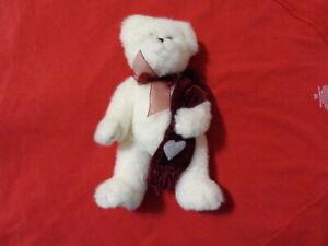 Bearington Collection Valentine Anniversary Love Heart Scarf White Bear Plush