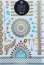Gold Blue Henna-Luxury Metallic Flash Bindi Temporary Tattoos by Unique Freak