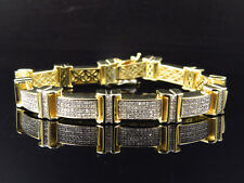 Round Cut Pave Set Genuine Diamond Bracelet In 14K Yellow Gold Finish 2.5Ct 9""