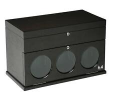 Belleview Collection Dark Brown Wood Box Volta Automatic 3 Triple Watch Winder