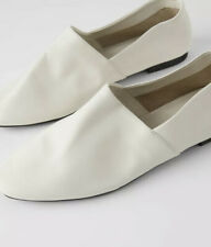 New  Zara LEATHER BALLERINA FLATS Round Toe Size 8 White  Color