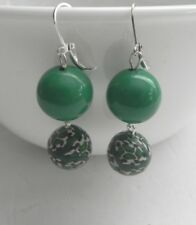 VINTAGE Green Beads Silver Tone Lever Back Hook EARRINGS