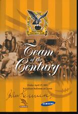 2001 Hawthorn Team of the Century Dinner Menu signed Kennedy Matthews Knights +1