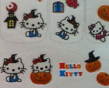 X-Lrg Sheet Nail Art Sticker Halloween Hello Kitty Witch Pumpkin Haunted House